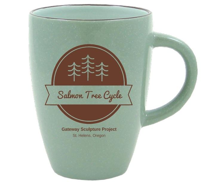 Pledge $30 - Made-in-Oregon Salmon Tree Cycle Mug. 13 oz.