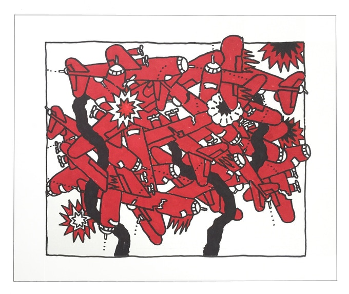 """For $300: """"Planes #15,"""" 2011, markers on paper, 14 x 17 in., signed, plus a signed copy of """"At War with War."""""""