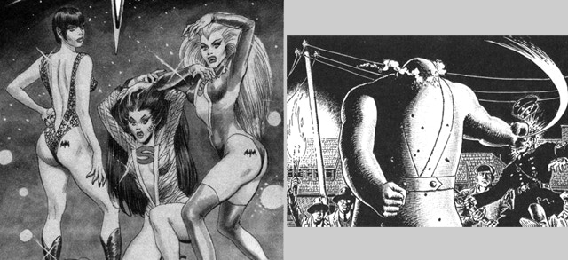 Sex Vampires from Outer Space by Gray Morrow and Return of the Golem by John Severin.