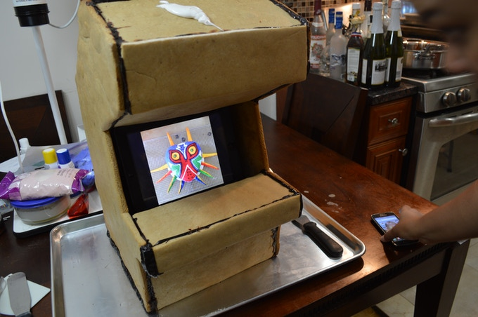 Before it's available to you, we test everything at home on our friends. Here, we're in the middle of constructing a giant edible arcade cabinet with ipad screen!
