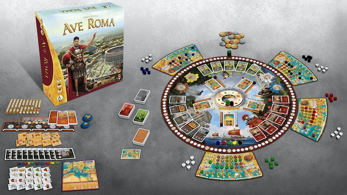 Build up your influence in Ancient Rome. A strategy board game with unique worker placement mechanics.