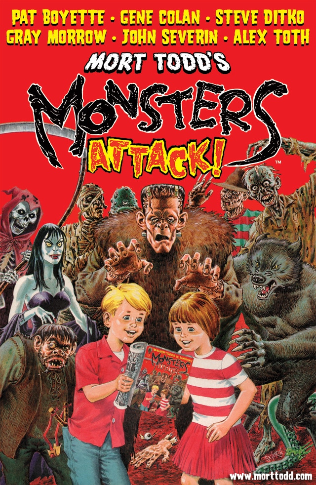 Cover art to MONSTERS ATTACK! #1 by John Severin from a layout by Mort Todd.