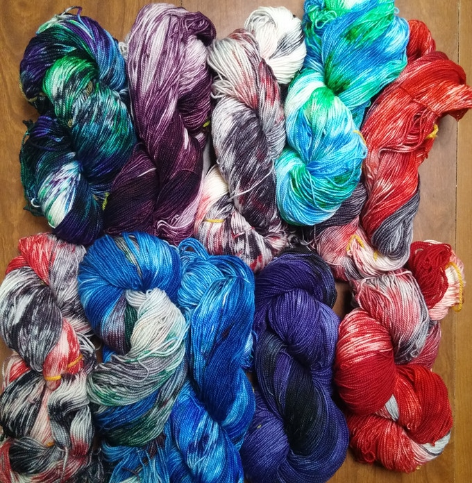 Sample of my hand dyed yarns.