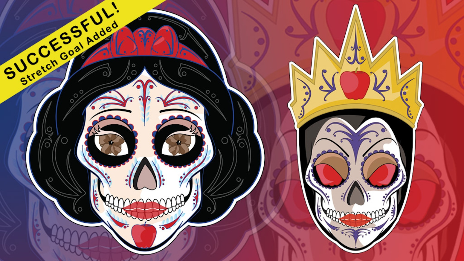 Snow white evil queen sugar skull stickers by mickel yantz mirror mirror on the wall who has the sickest sugar skull of them all get you snow white and evil queen sticker here amipublicfo Choice Image