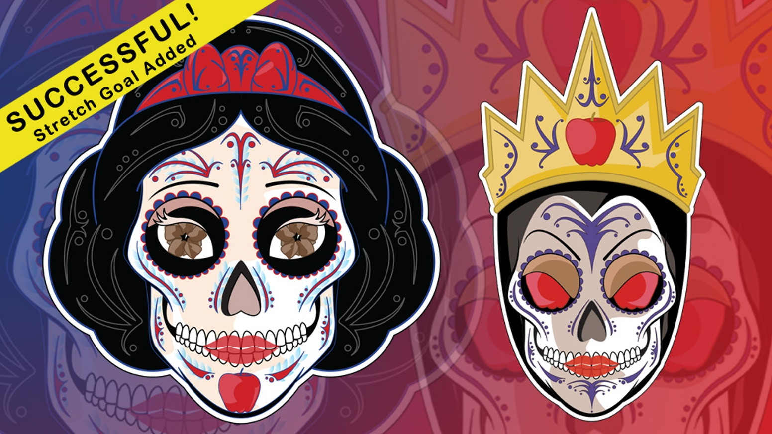 Snow White Evil Queen Sugar Skull Stickers By Mickel Yantz