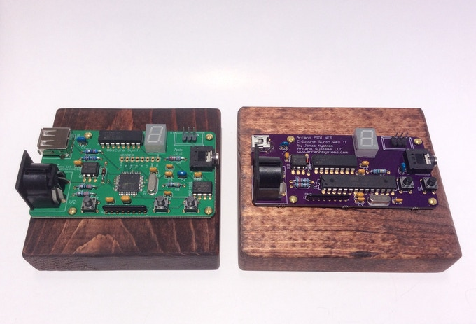 Obscura 8-bit Chiptune Synth 2 SMD version (left) and through-hole version (right)