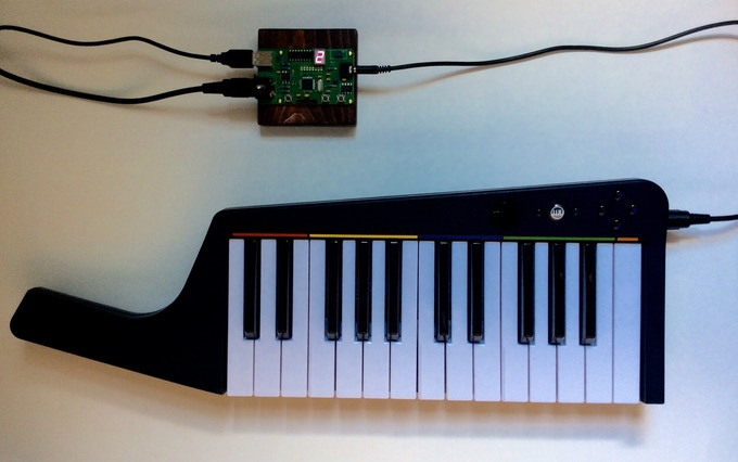 Obscura 8-bit Chiptune Synth 2 connected to a MIDI keyboard