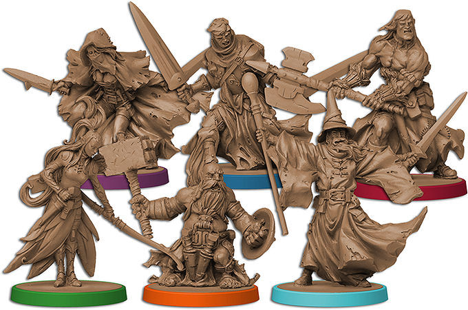 The heroes in Massive Darkness are represented by incredibly detailed miniatures, bringing classic RPG archetypes into the adventure.