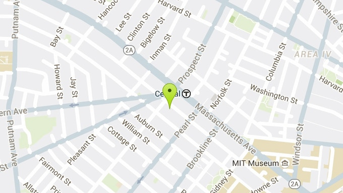 We're located right near the Central Square stop on the red line, about a dozen buses, and four large parking lots.