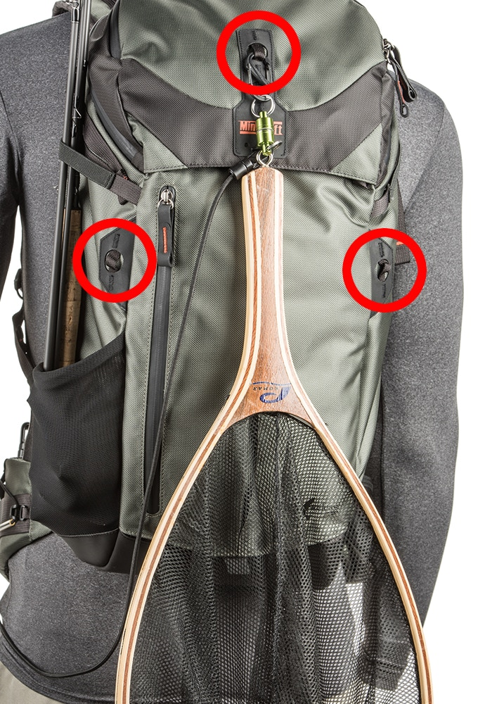 Multiple lash points to attach a landing net or wet clothing