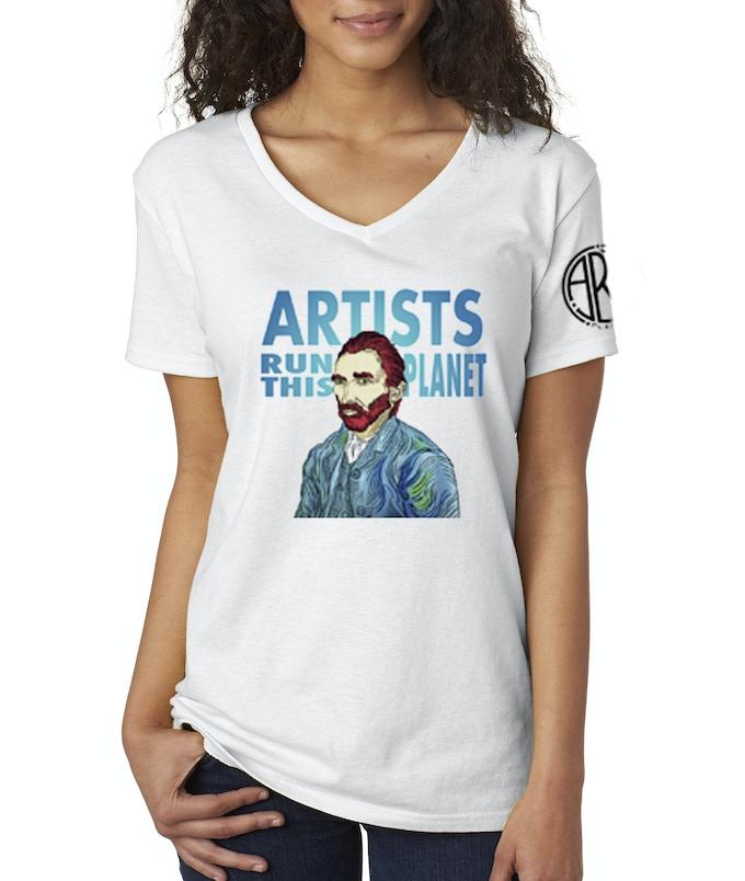 Artists Run This Planet Women's 50/50 V-Neck T-Shirt