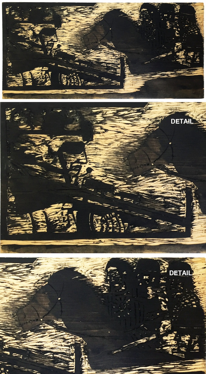 """For $395: Original """"At War with War"""" Wood Block #1, 2015, pine block, 11 x 23 x .078 in. Includes a copy of """"At War with War."""""""