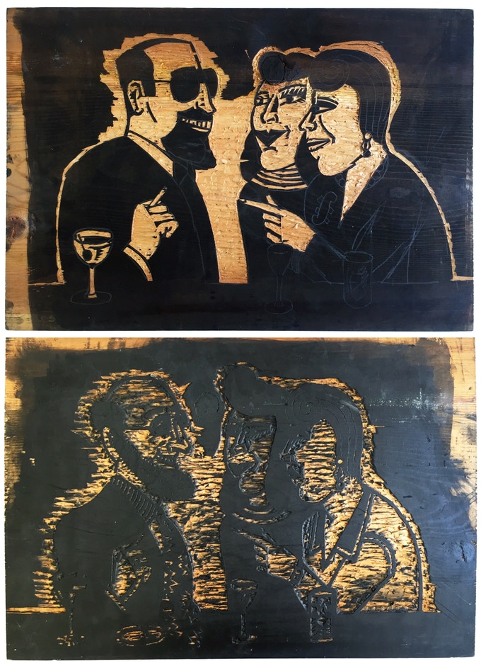 """For $495: Original """"Sam's Bar"""" Wood Block #1, 1987, pine block, 17 x 25 x .078 in. Includes a copy of """"At War with War."""""""