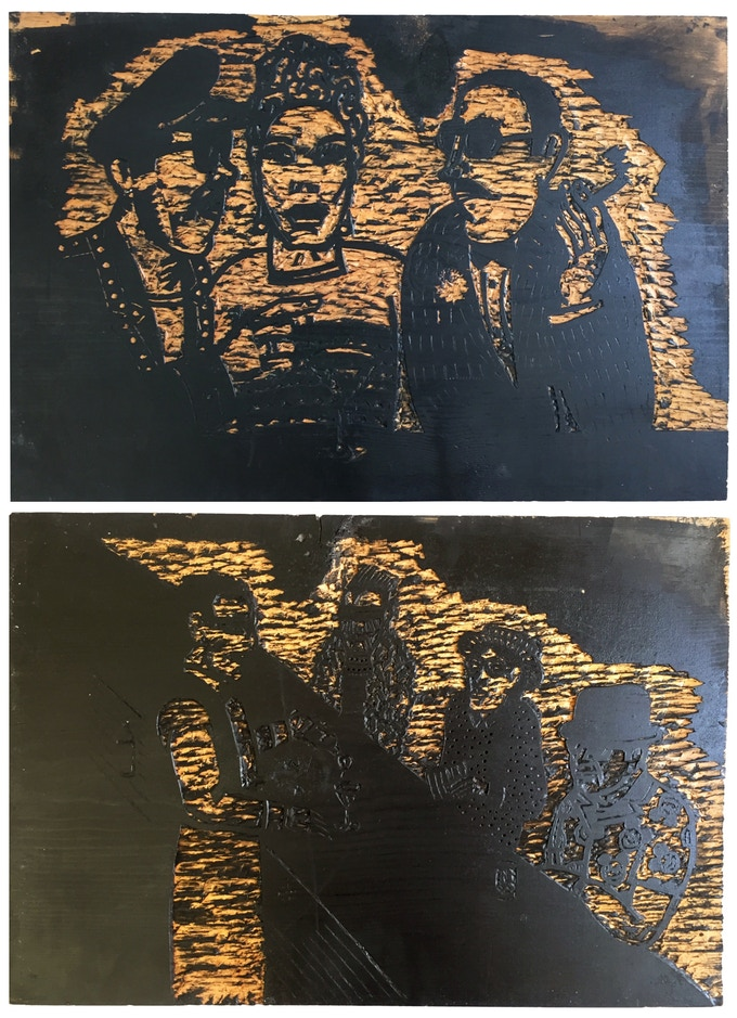 """For $495: Original """"Sam's Bar"""" Wood Block #2, 1987, pine block, 17 x 25 x .078 in. Includes a copy of """"At War with War."""""""