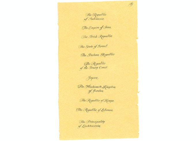 One of eight original tissue-paper layouts by Alice in Spencerian script, to be included with the deluxe copies