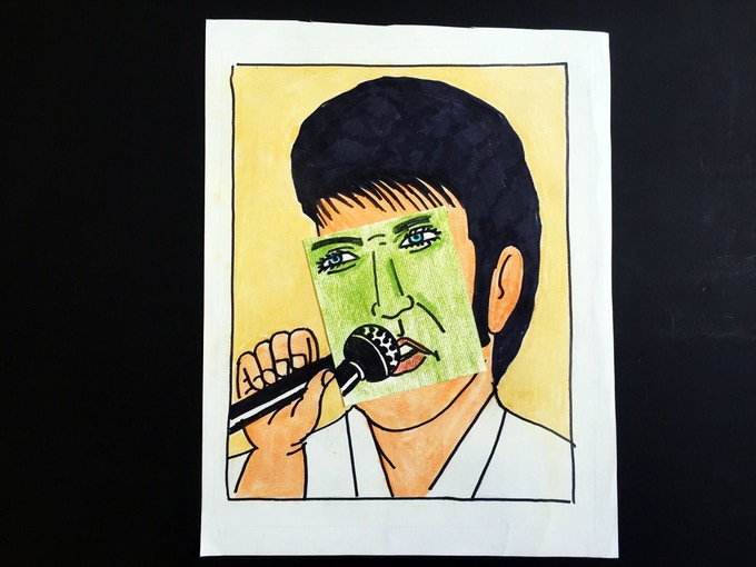 """For $259: """"Elvis 1,"""" 2012, mixed media collage on paper, 12 x 15 1/2 in., signed, plus a copy of """"At War with War."""""""