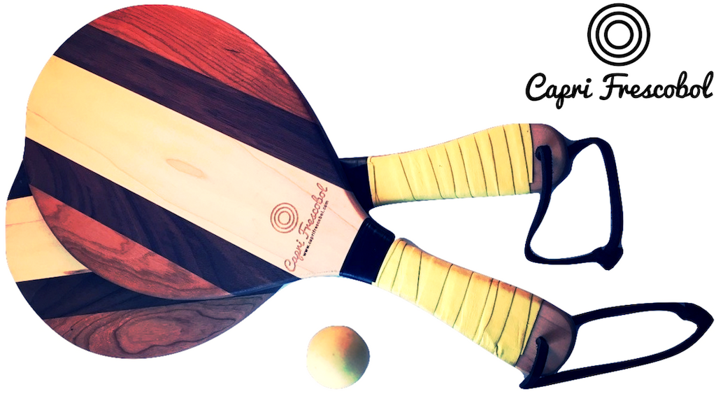 Vintage Wood Beach Paddle Ball Set By
