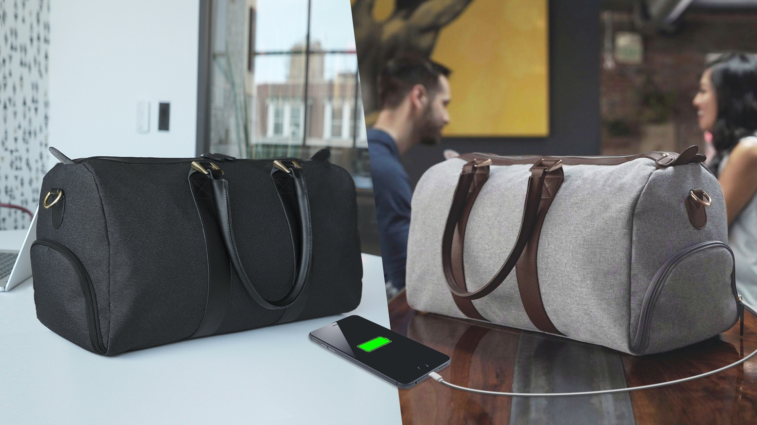 Stylish duffle bags with an internal battery to keep your phone charged. Perfect for travel, work, and the gym.
