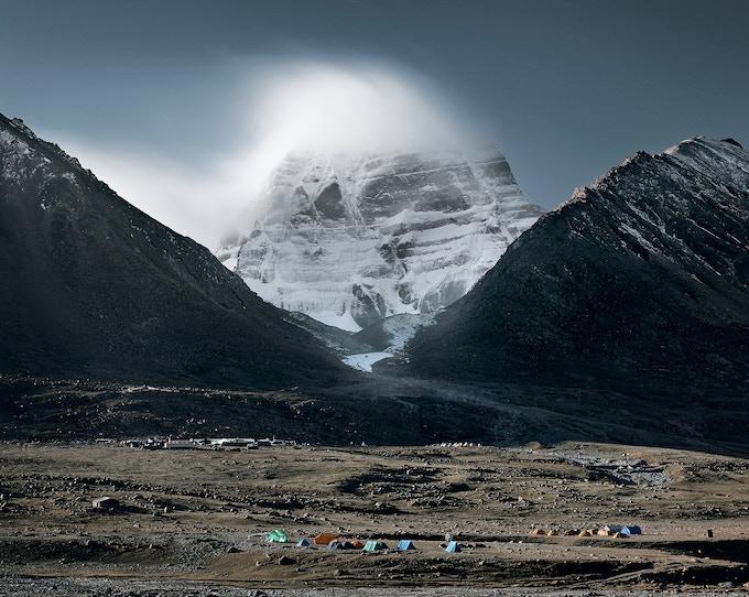 Mount Kailash Northface - Dirapuk Gompa - full moon