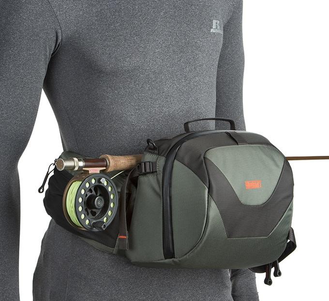 Beltpack in forward position serves as a rod rest