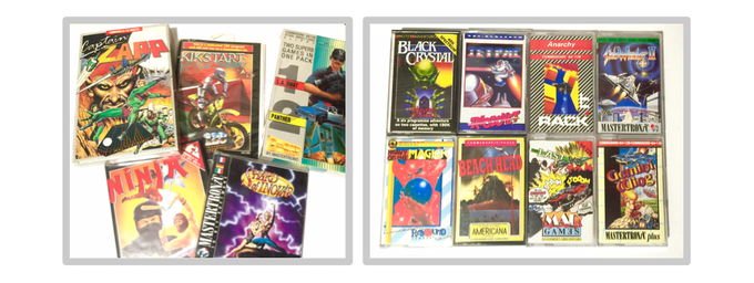 A selection of disk and cassette games and titles that appear exclusively in the 512 page Collector's Edition