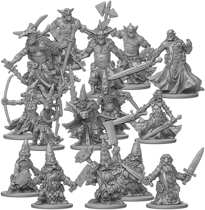 Enemy miniatures: Orcs, Goblins and Dwarves come in many variations of Agents, Bosses, and Minions.