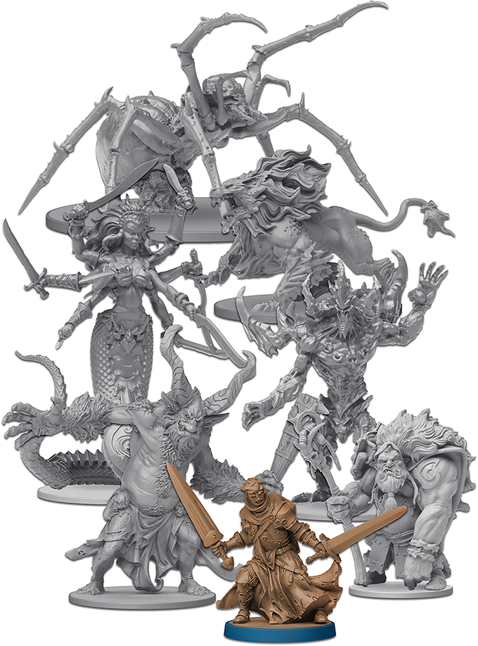 """The Roaming Monster figures can hardly be called """"miniatures"""" (Owen for scale reference)."""