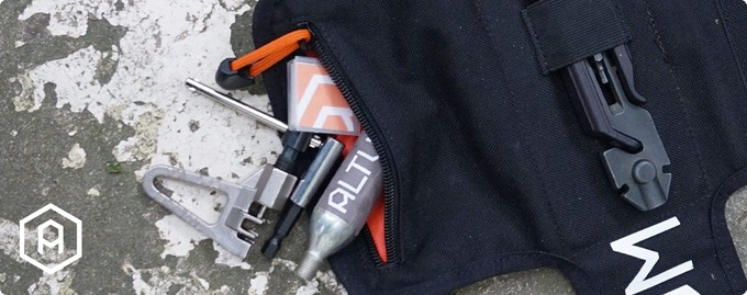 A ripstop lined pouch for storing other cycling essentials