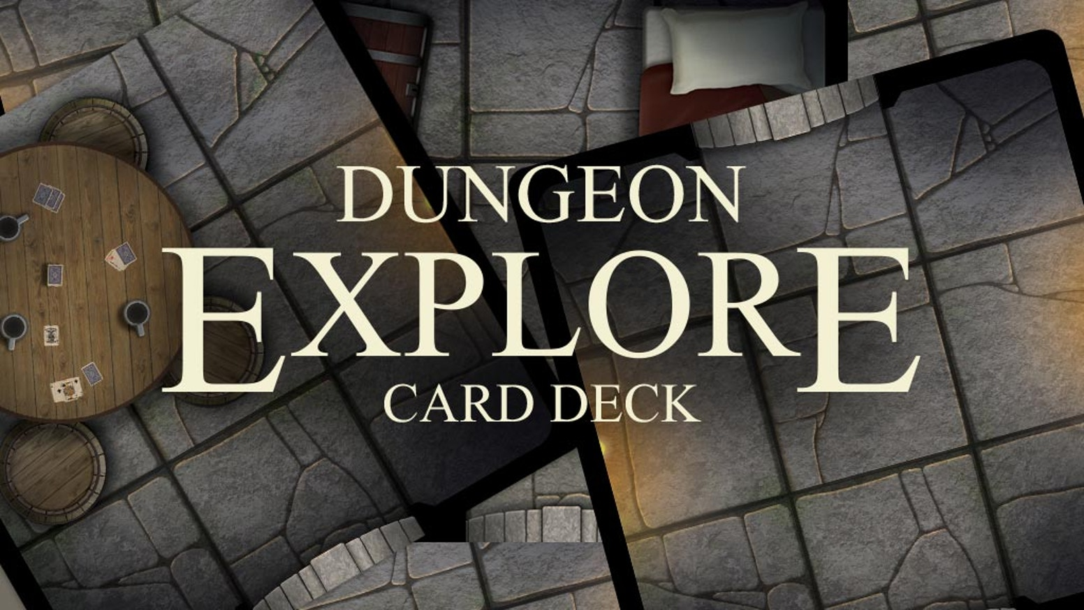 Build a dungeon anywhere with 48 modular tile cards. Each card has a 3x3 grid and unique artwork to bring your tabletop games to life.