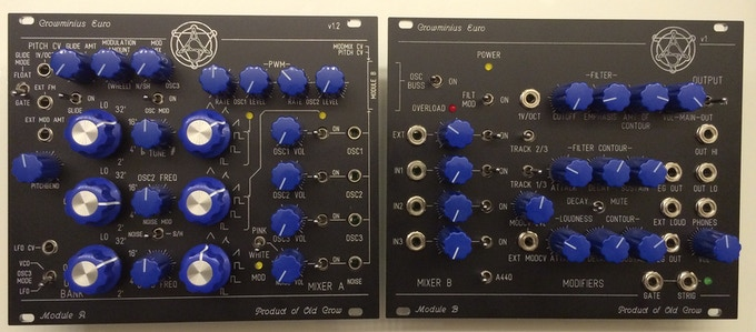 Crowminius as two modules in eurorack format