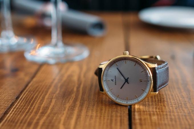Aevi Venezia. Gold case, white dial, and brown Italian leather.