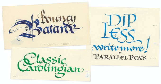 Samples of original calligraphy by Alice using Coit and Speedball pens, demonstrating different calligraphic styles, one of which will be included with the Extra Deluxe edition