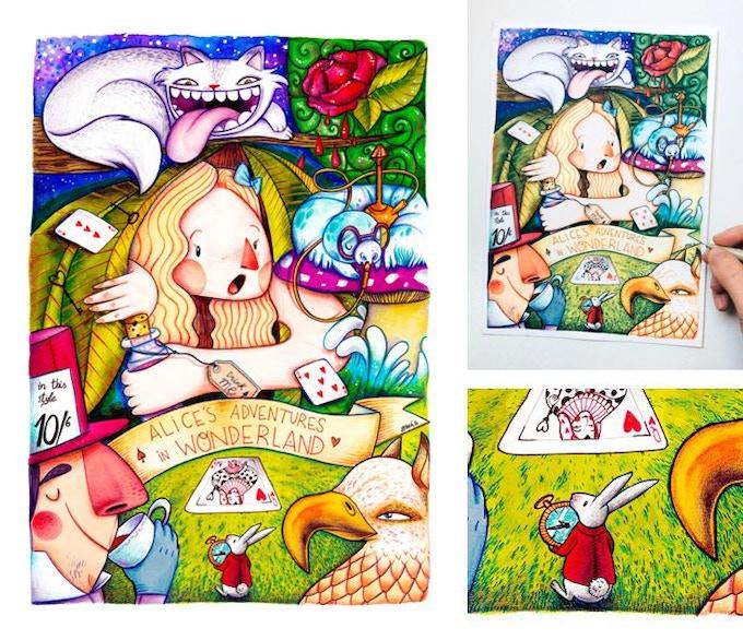 ORIGINAL DRAWING: Alice's Adventures in Wonderland by Jotaká