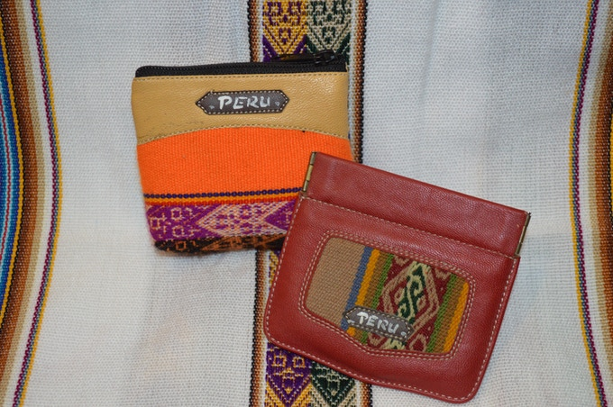 Peruvian coin wallets and alpaca purses