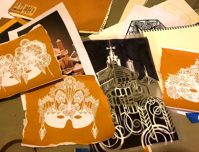Swoon's work table: Sneak peek  -- Co-founding artist Swoon is designing a series of 3 papercut masks, and a new limited edition print, which are only available through this campaign...