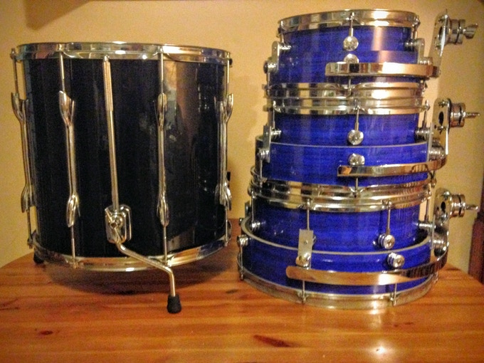 all three toms next to an old floor tom