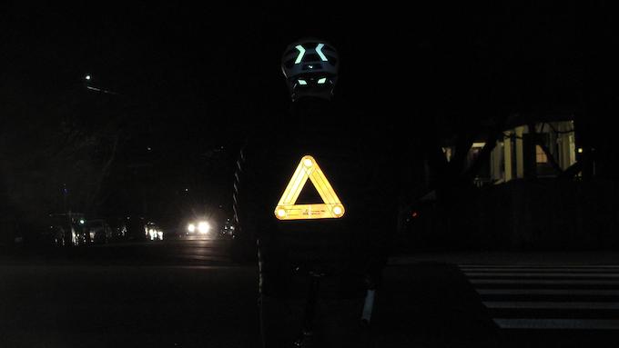 Orange reflector at night