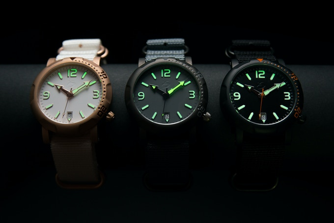 The lume shot of Model S, by SCURO Watches