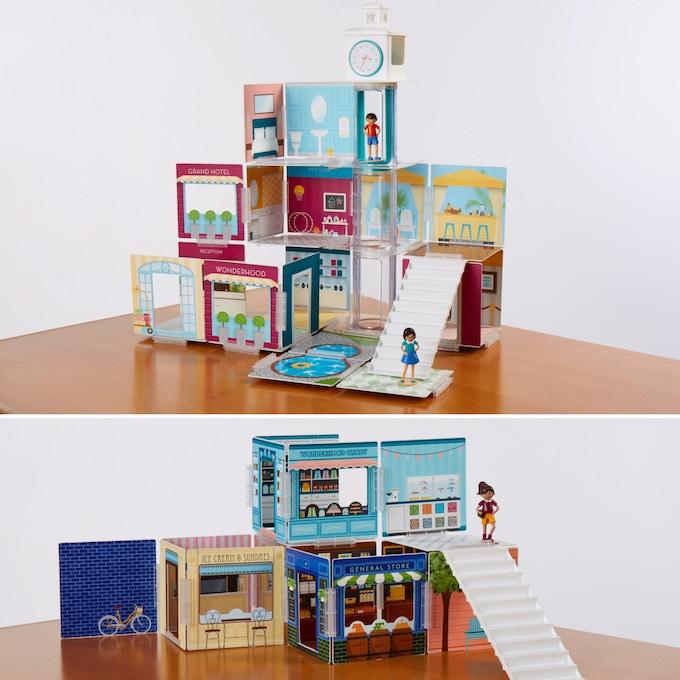 Grand Hotel (top) and Corner Shops (bottom) building sets