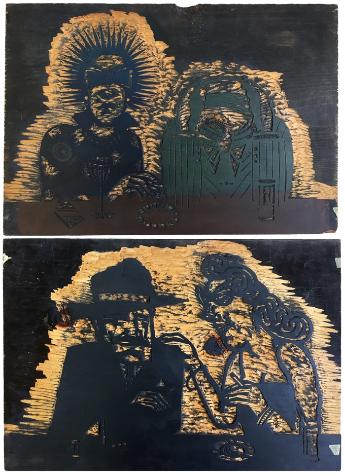 """For $495: Original """"Sam's Bar"""" Wood Block #3, 1987, pine block, 17 x 25 x .078 in. Includes a copy of """"At War with War."""""""