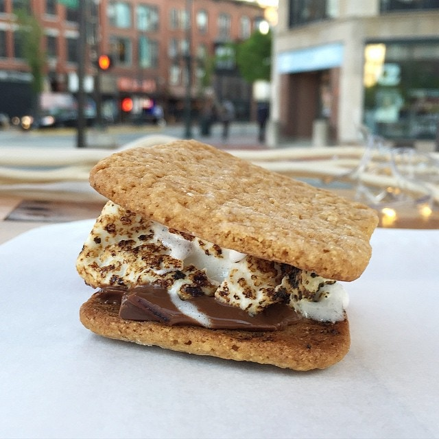 A homemade s'more from the Marshmallow Cart