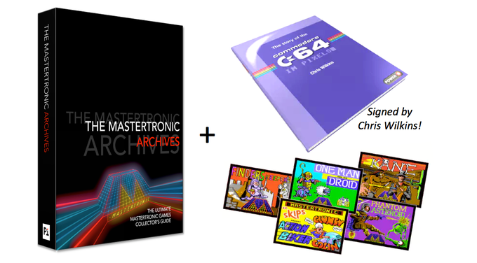 The Mastertronic Archives 256 page hardback + signed copy of The Commodore 64 in Pixels + C64 loader postcards