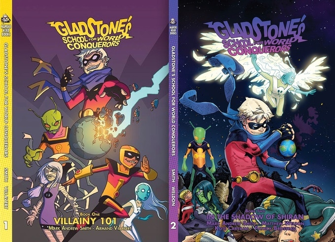 OWN THE TWO BOOK GLADSTONE'S SCHOOL FOR WORLD CONQUERORS SET TODAY!!!
