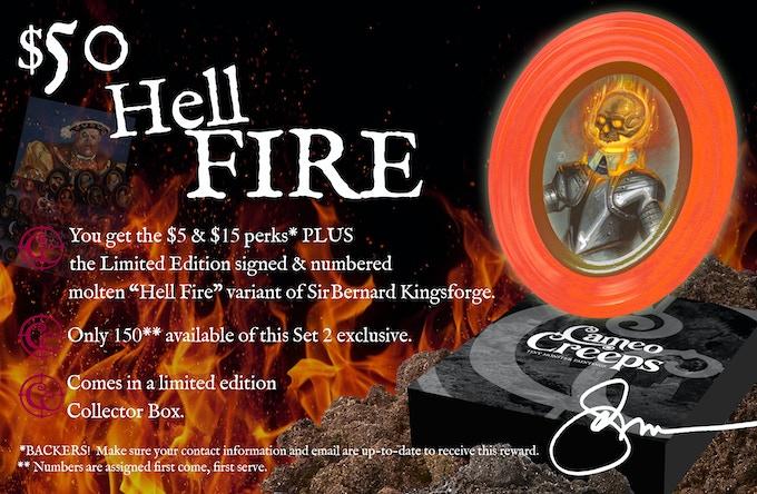 "$50 You get the PDF Digital Print + ALL Social Media Skins + Ebook w/ Forward by G.D. Falksen + Exclusive Kickstarter Signature Series Mini-Print + the Limited Edition ""Hell Fire"" Creep"