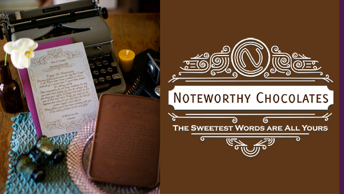 Noteworthy Chocolates engraves your unique message into delicious chocolate stationery! Give a custom gift of premium chocolate that'ssoyand peanut-free.