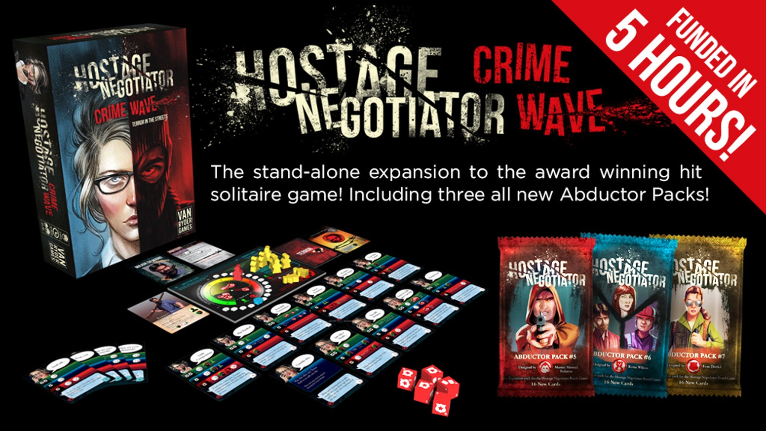 Hostage Negotiator: Crime Wave is a stand alone expansion to the hit solitaire game, Hostage Negotiator.