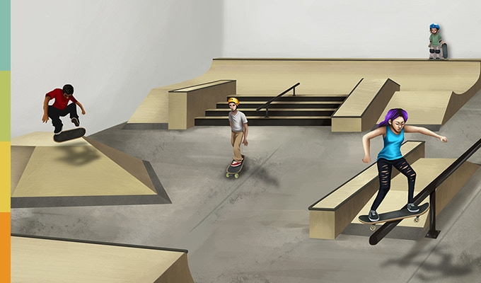 Artist's drawing of Stronger Skatepark. Design subject to change until completion.