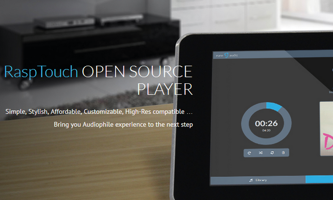RaspTouch Standalone Audio Player Raspberry Pi 3 + SABRE DAC