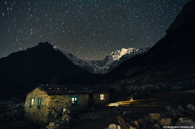Night sky view from Langtang.