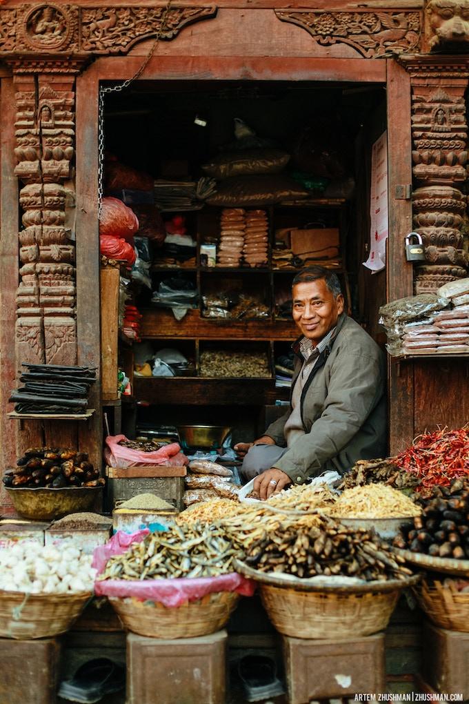 Shop seller on Durbar square, Kathmandu.